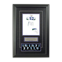 """Heritage Sports Art - Original art of the NFL 1978 Seattle Seahawks uniform - This beautifully framed piece features an original piece of watercolor artwork glass-framed in an attractive two inch wide black resin frame with a double mat. The outer dimensions of the framed piece are approximately 17"""" wide x 24.5"""" high, although the exact size will vary according to the size of the original piece of art. At the core of the framed piece is the actual piece of original artwork as painted by the artist on textured 100% rag, water-marked watercolor paper. In many cases the original artwork has handwritten notes in pencil from the artist. Simply put, this is beautiful, one-of-a-kind artwork. The outer mat is a rich textured black acid-free mat with a decorative inset white v-groove, while the inner mat is a complimentary colored acid-free mat reflecting one of the team's primary colors. The image of this framed piece shows the mat color that we use (Medium Blue). Beneath the artwork is a silver plate with black text describing the original artwork. The text for this piece will read: This original, one-of-a-kind watercolor painting of the 1978 Seattle Seahawks uniform is the original artwork that was used in the creation of this Seattle Seahawks uniform evolution print and tens of thousands of other Seattle Seahawks products that have been sold across North America. This original piece of art was painted by artist Bill Band for Maple Leaf Productions Ltd. Beneath the silver plate is a 3"""" x 9"""" reproduction of a well known, best-selling print that celebrates the history of the team. The print beautifully illustrates the chronological evolution of the team's uniform and shows you how the original art was used in the creation of this print. If you look closely, you will see that the print features the actual artwork being offered for sale. The piece is framed with an extremely high quality framing glass. We have used this glass style for many years with excellent results. We pa"""