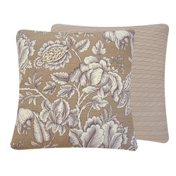 Cable Knit Floral Throw Pillow in Tan l Chloe and Olive - Chloe & Olive