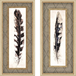 Paragon Decor - Plume/Quill Set of 2 Artwork - Before the pin was mightier than the sword!  Prints are surrounded by a distressed antique gold filet with fabric matting.
