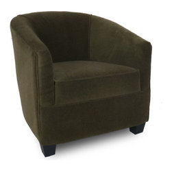 """Passport Home - Laurie Chair - Cocoon-like with its circular style and gently sloping arms, the inviting Laurie chair defines both style and versatility. The Laurie chair is upholstered in a high quality fabric with the look of mohair. Features: -Solid wood legs.-Attached arm and back pillows.-Seat cushions of high performance.-Seams are sewn with bonded nylon.-Monofilament threads for strength and flexibility.-Soft and resilient 1.8 high density polyurethane foam with foam wrap.-Major frame joints are corner blocked, glued, and stapled for added stability.-Outside panels are padded to add softness and support to the fabric or leather, preventing it from sagging and becoming loose.-Tempered steel sinuous springs for both back and seat suspension ensures that your back pillows and seat cushions are properly supported and that extraordinary seat comfort is provided.-Made in the USA.-29.5"""" H x 28"""" W x 31"""" D, 60 lbs.-Collection: Laurie.-Upholstered: Yes .-Distressed: No.-Country of Manufacture: United States.Dimensions: -Overall Product Weight: 60 lbs."""