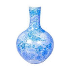 Belle & June - Blue Globular Vase with Dragon Motif - Fanciful dragons swoop and soar across this Asian-inspired bulb vase. A fine porcelain piece in brilliant blue, it brightens up your favorite setting instantly.