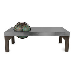 Kathy Kuo Home - Gordon Industrial Loft Metal Inset Color Globe Coffee Table - We've brought something new to the table…a globe. This industrial metal rectangular coffee table is finished in a unique, brushed silver patina. A globe, represented in beautiful blues and greens, is inset to allow for full rotation. This rustic table adds an eclectic, Old World accent to a library, office or living room.