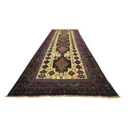 Manhattan Rugs - Free Pad Navy Blue 3X9 Oriental Tribal Hand Knotted Wool Persian Rug Runner P738 - Baluch