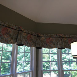 New fall and winter projects! - I love creating window treatments for bay windows.  This valance shows off a print beautifully and is mounted high enough to frame the lovely view.