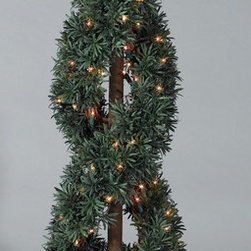 "Balsam Hill - Balsam Hill® Potted Myrtle Artificial Topiary Trees (2-Pack) - The two-pack of 39"" Myrtle Royal artificial trees make any doorway look fabulous and elegant. UL® approved indoor/outdoor lights make this pair of trees a dazzling sight at night or during the day. Also included with this tree is a durable and attractive black potted base, soft cotton gloves for shaping the tree, storage bags, and extra bulbs and fuses. As the best artificial Christmas tree manufacturer that is the #1 choice for set designers for TV shows such as ""Ellen"" and ""The Today Show"", in addition to being a recipient of the Good Housekeeping Seal of Approval, our trees are backed by a 5-year foliage warranty and a 3-year light warranty. Free shipping when you buy today!"