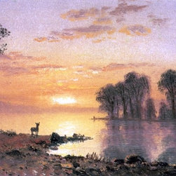 "Albert Bierstadt Sunset, Deer, and River - 16"" x 24"" Premium Archival Print - 16"" x 24"" Albert Bierstadt Sunset, Deer, and River premium archival print reproduced to meet museum quality standards. Our museum quality archival prints are produced using high-precision print technology for a more accurate reproduction printed on high quality, heavyweight matte presentation paper with fade-resistant, archival inks. Our progressive business model allows us to offer works of art to you at the best wholesale pricing, significantly less than art gallery prices, affordable to all. This line of artwork is produced with extra white border space (if you choose to have it framed, for your framer to work with to frame properly or utilize a larger mat and/or frame).  We present a comprehensive collection of exceptional art reproductions byAlbert Bierstadt."
