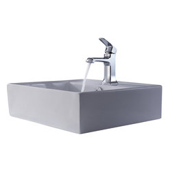 Kraus - Kraus C-KCV-150-15201CH White Square Ceramic Sink and Decorum Basin Faucet - Add a touch of elegance to your bathroom with a ceramic sink combo from Kraus