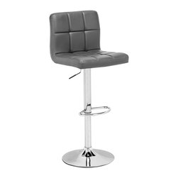 """Zuo - Zuo Agency Adjustable Height Gray Barstool - Gray leatherette contemporary bar stool. Chrome finish steel frame construction. Adjustable height. Swivel seat. A chic addition to your home from Zuo Modern. 17 3/4"""" wide. 17 3/4"""" deep. Height adjusts from 37 1/2"""" - 45 3/4"""". Seat is 17 3/4"""" wide and 15"""" deep. Seat height adjusts from 25"""" - 32 3/4"""".  Some assembly required.  Gray leatherette contemporary bar stool.  Chrome finish steel frame construction.  Adjustable height.  Swivel seat.  A chic addition to your home from Zuo Modern.  17 3/4"""" wide.  17 3/4"""" deep.  Height adjusts from 37 1/2"""" - 45 3/4"""".  Seat is 17 3/4"""" wide and 15"""" deep.  Seat height adjusts from 25"""" - 32 3/4"""".  Some assembly required."""