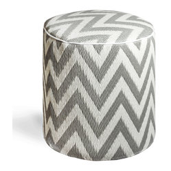 Fab Habitat - Laguna - Paloma & White Pouf - Chic chevrons are showcased in this sophisticated, ecofriendly pouf. This handmade two-toned round ottoman was crafted from recycled materials and will look so mod in your living room or as the stool to your vanity area.