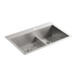 KOHLER - KOHLER K-3839-1-NA Vault Smart Divide Offset Sink - KOHLER K-3839-1-NA Vault Smart Divide Offset Sink