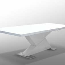 """Contemporary Dining Tables """"Z"""" Dining Table in White"""