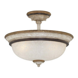 Minka-Lavery - Accents Provence Patina Three-Light Semi-Flush with White Patina Glass - Accents Provence Patina Three-Light Semi Flush Mount with White Patina Glass Minka-Lavery - 1298-580