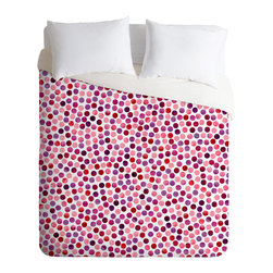 DENY Designs - Garima Dhawan Watercolor Dots Berry Duvet Cover - Turn your basic, boring down comforter into the super stylish focal point of your bedroom. Our Luxe Duvet is made from a heavy-weight luxurious woven polyester with a 50% cotton/50% polyester cream bottom. It also includes a hidden zipper with interior corner ties to secure your comforter. it's comfy, fade-resistant, and custom printed for each and every customer.