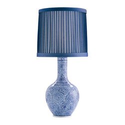 Arteriors - Batik Blue & White Porcelain Lamp - This unique treasure will bring out the blue — beautifully! — in your favorite setting. The curvy urn base, inspired by traditional Javanese batik fabric, lofts a pleated drum shade for a look that's classically modern.