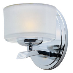 Elle-Wall Sconce - Symmetry in design captures the essence of the Elle collection.�Graceful sweeping arms finished in either Polished Chrome or Oil-Rubbed Bronze support a bold Frosted glass.�Xenon lamps supply a bright, natural light.