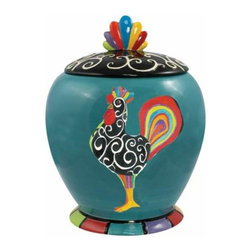 WL - 9 Inch Petit Luxe Decorated Rooster Collectible Painted Canister - This gorgeous 9 Inch Petit Luxe Decorated Rooster Collectible Painted Canister has the finest details and highest quality you will find anywhere! 9 Inch Petit Luxe Decorated Rooster Collectible Painted Canister is truly remarkable.