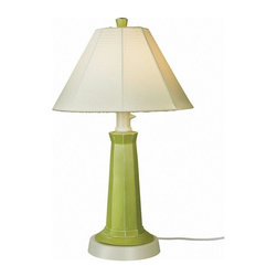 """PLC - Nantucket 35"""" Table Lamp, Mint Julep Base and Natural Linen Shade - Distressed mint julep green resin lamp base highlights this stylish outdoor lamp. Two level dimming switch and 16' weatherproof cord and plug. Unbreakable polycarbonate waterproof bulb enclosure allows the use of a standard 100 watt light bulb.   Dimensions: 35"""" tall x 20"""" diam."""