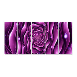"Fabuart - Purple Rose -  Large Canvas Print - 60 x  28 - 5 Panels - This stunning ""Purple Rose""  artwork design is printed in high quality fade resistant ink on premium quality cotton canvas. This abstract design is sure to be the center piece of any room it is placed in. All of our graphic canvas prints are gallery wrapped around solid wood subframes, carefully packaged and arrive to you, ready to hang on the wall. Our printing technology allows for a crisp, deep canvas print which is  never pixelated."