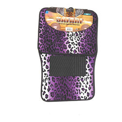 None - Oxgord Velour / Plush Purple Safari Cheetah / Leopard Car Floor Mats (Set of 4) - These stylish decorative car floor mats are a great way to protect the carpeting in your vehicle while still being able to show your unique personality. The purple leopard print will look great in any car, regardless of its interior color.