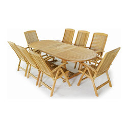 Westminster Teak Furniture - Montserrat 9pc Oval Teak Outdoor Dining Set - 9pc Oval Teak Dining Set consists of 1 Montserrat Oval Teak Extension Table and eight Montecarlo Reclining Teak Armchairs to complete this teak outdoor dining set.  Montecarlo chairs fold away for easy storage.  Accommodates optional umbrella.