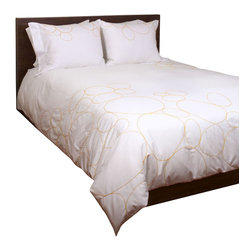 "Sanford Burrows - Riverbed Saffron - King Duvet Cover and Shams Set - Duvet covers have a button-lined closure.  Shams have a French Pocket closure, with flange detail on one side.  Set includes a King duvet cover (104""x88"") with two King shams (36""x20"").  Designed by Jill Sanford Burrows.  Yellow embroidered design on white.  100% combed Egyptian cotton percale; single-ply yarn.  210 thread count. Made in Italy.  Care:  Machine wash cold with mild detergent.  Dry on low/delicate, or line dry.  Press on reverse side when still slightly damp for best results.  Do not dry clean."