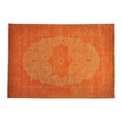 1800-Get-A-Rug - 100% Wool Orange Overdyed Serapi Heriz Oriental Rug Hand Knotted Sh19366 - 100% Wool Orange Overdyed Serapi Heriz Oriental Rug Hand Knotted Sh19366