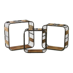Metal and Wood Crate Shelf Wall Decor - Set of 3 - Black - *Metal Wall Decor with Wood Sides and Sawtooth Hangers Set of Three Black