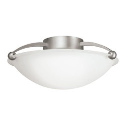 KICHLER - KICHLER 8405NI Swiss Passport Contemporary Semi Flush Mount Ceiling Light - With a decidedly European flair, the Swiss Passport Collection provides ample lighting and a design that is modern and elegant all in one package. The hand-formed frame and Brushed Nickel finish, combined with Satin-etched glass, give this family of fixtures high-quality construction and a clean profile that goes with any contemporary interior decor. For a combination of extraordinary lighting with a universally pleasing aesthetic, the Swiss Passport Collection is an unbelievable value. This beautiful 2-light, semi-flush fixture highlights these concepts perfectly. Its etched white glass cover uses two 75-watt (max.) bulbs, creating the perfect marriage of ingenuity with splendor for the modern home.