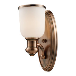 Elk Lighting - Elk Lighting Brooksdale Transitional Wall Sconce X-1-08166 - Traditional details are accentuated by a stunning Antique Copper finish on this classically designed Landmark Lighting wall sconce. From the Brooksdale Collection, the vintage flair has been paired with a sleek, clean white glass shade complete with an Antique Copper finished trim that pulls the look together.