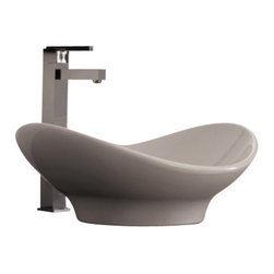 Scarabeo - Oval-Shaped White Ceramic Vessel Sink, No Hole - Modern above counter oval-shaped white ceramic sink. Supported bathroom sink without overflow. Made in Italy by Scarabeo.