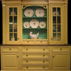 British Traditions - Large 8 Pc Hutch w 8 Drawers & 4 Cabinents (French Gray) - Finish: French Gray. Large 8-piece hutch. 2 Small and 6 large drawers. 2 Cabinets with glass doors at top. 2 Base cabinets. Each finish is hand painted and actual finish color may differ from those show for this product. Assembly required. Top interior cabinet:. Center: 31.75 in. W x 7 in. D x 45.5 in. H above drawers. Sides: 16 .38 in. W x 11 in. D x 50 in. H. Base interior size: 20.5 in. W x 23 in. D x 20.5 in. H both cabinets. 90 in. W x 25 in. D x 95 in. H (880 lbs.)The bead board top of this exceptionally charming and beautifully detailed piece is set back from the front of the base. In the center is a large open shelf with adjustable shelving; on either side are glass mullioned doors. At the bottom of the open shelf, there are two small drawers. The top of the base of the unit is extra thick and gracefully routed. Four large drawers are centered in the base, which also includes two cupboards, each topped by another drawer. It is the ultimate piece for both storage and display. Fluted columns and intricate, high crown moulding give it elegance and high style. Please note: This hutch ships in 8 boxes and will require some assembly.