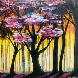 Pink Tree (Original) by Kristin Dethlefsen - Wandering in the woods on a spring morning can bring you many pleasant surprises! Painted to the edge on stretched canvas. Doesn't require a frame, ready to hang.