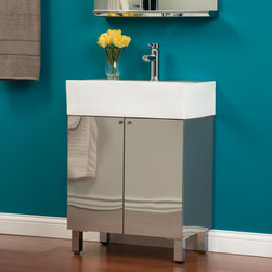 """24"""" Showcase Series Stainless Steel Vanity - The 24"""" Showcase Series Stainless Steel Vanity will make a great addition to any contemporary bathroom. Stainless steel construction and minimalist design create practical beauty by offering ample storage accessible by two soft-closing doors."""