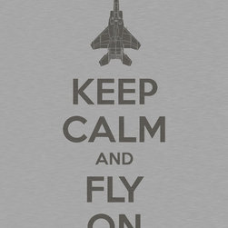 """Keep Calm Collection - Keep Calm and Fly On, premium art print (brushed metal) - High-quality art print on heavyweight natural white matte fine art paper. Produced using archival quality inks giving the print a vivid and sharp appearance. Custom trimmed with 1"""" border for framing."""