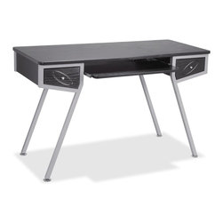 Lorell - Lorell Laminate Computer Desk - Racetrack - 4 Legs - 2 Drawers - Stylish computer desk offers a unique design with slanted, square tube legs for plenty of leg room and a sturdy base. The two drawers on the sides have slanted bottoms on the drawer fronts to continue the theme. Desk also features a pullout keyboard shelf and holds up to 250 lb., evenly distributed. The top is 18mm thick, and storage drawers are 15mm thick. Design also includes medium-density fiberboard with PVC edge banding; powder-coated silver steel frame; black laminate; adjustable leveling glides; and metal-to-metal screw fasteners.