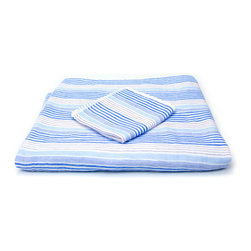 Quick-Dry Striped Towels Set - Blue - Made of 100% cotton, these Quick-Dry Striped Towels instantly add colorful life to your bathroom. Not just for decoration, these lightweight towels are highly absorbent yet dry quickly due to their unique two-sided construction. While one side glides over you with the softest of soft cotton, the other has a looped terrycloth pile for added after-shower absorption. Handmade in Japan.