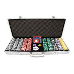 Trademark Global - Trademark Poker 15g Clay Laser Las Vegas Set with Aluminum Case - 500 Chips Mult - Shop for Card and Casino Games and Accessories from Hayneedle.com! Be the envy of your poker buddies with the Trademark Poker 500 Chips 15g Clay Laser Las Vegas Set with Aluminum Case. This gorgeous set includes everything you need to add a casino feel to your next game: 500 chips two decks of cards a 2-inch diameter Dealer button a 1.25-inch diameter Big Blind button and a 1.25-inch diameter Little Blind button. All of these pieces are packed in a heavy-duty yet lightweight aluminum case with a black velour lining to keep your chips protected from dirt and scuffs. Set Includes: 150 white $1 chips 100 red $5 chips 100 green $25 chips 50 black $100 chips 50 purple $500 chips 50 yellow $1000 chips 2 decks of cards 3 buttons: Dealer Big Blind and Little Blind About Trademark Global Inc.Located in Lorain Ohio Trademark Global offers a vast selection of items for your home and lifestyle. Whether you need automotive products collectibles electronics general merchandise home and garden items home decor house wares outdoor supplies sporting goods tools or toys Trademark Global has it at a price you can afford. Decor items and so much more are the hallmark of this company.