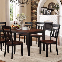 Homelegance - Homelegance Westport 5 Piece Dining Room Set in Black & Cherry - The two-tone black and cherry finish of the Westport Collection provides a timeless look to your casual dining room. Coordinating wood chairs match the black table legs that rise to support the expandable cherry finished tabletop. The Westport Collection is offered in both counter and traditional dining heights.