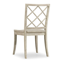 """Hooker Furniture - Hooker Furniture Sunset Point X Back Side Chair - Set of 2 - A dash of chic, an air of sophistication and a splash of color make Sunset Point as stunning as it is unforgettable. Three designer finishes, sweeping scale and soft organic cathedral white oak veneers come together in a casual cottage waterside furniture collection that is equally at home for lakeside or seaside. Hatteras White finish. Wood seat. Rubberwood Solids and Poplar Veneers. Dimensions: 13.25""""W x 24.25""""D x 38.5""""H."""