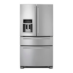 Jenn-Air Freestanding Refrigerator Pro Style, Stainless | JFX2597AEP - 2-Point Front Leveling Max Cold QuadSensor Electronic Climate Control PuR Ice/Water Filter Adjustable Door Bin(s) Automatic Adaptive Defrost Glide-Out Drawer with SmoothClose Drawer Track System