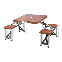 """Picnic at Ascot - Picnic Table Set, Wood - Attractive portable wood picnic table with built in seating for four. Constructed with a high strength aluminum alloy frame. Protective zip on case is included. Very easy set up, no tools required. Sturdy & light weight at only 18.5 lbs. Seats have 240 Lb weight capacity. Table top is 33.5"""" x 28.5"""". Closes to 33.5"""" wide x 4.5"""" deep x 15"""" high, with attached swivel handle to carry. Lifetime warranty"""