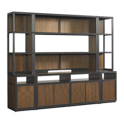 "Stanley Furniture - Montreux Living Room Media Unit - Alpine Walnut - This four piece Media Unit includes the Media Wall Top Center Deck (66 1/2"" W X 15"" D X 52 1/2"" H) which has one fixed shelf, one removeable shelf and a wire management aperture; the Media Wall Bottom Center Base (66 1/2"" W X 20"" D X 30 1/4"" H) which has four doors, two adjustable shelves, one fixed shelf and a recessed electrical outlet; and two Media Wall End Units, Right and Left (18 11/16"" W X 20"" D X 82 3/4"" H), which have one door, one shelf on the base, two fixed wood framed glass shelves and two fixed wood shelves on the deck. Assembly will be required with either curbside or inside delivery. Made to order in America."