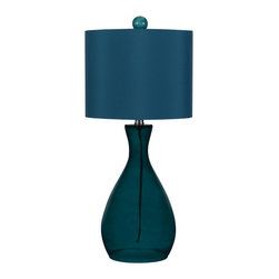 angelo:HOME - angelo:HOME Mercer Table Lamp - Blue - angelo:HOME Mercer table lamp, designed by Angelo Surmelis for AF Lighting. Sea blue glass, hand blown, matching shade and glass finial. 26 H X 11.5 D. Rotary switch on / off. Due to hand crafting, no 2 alike. Simple assemble required