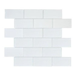 Jeffrey Court - Glass Tile: 11-5/8 in. x 12-5/8 in. Siberian Gloss Glass Wall Tile 99520 - Shop for Flooring at The Home Depot. Use the Jeffrey Court 11-5/8 in. x 12-5/8 in. Siberian Gloss Glass Wall Tile to add a stylish aesthetic enhancement to kitchens, bathrooms and a variety of other indoor spaces. This handsome mosaic combines a smooth, unglazed surface with a uniform appearance in tone and a brilliant white color to create a handsome, contemporary look that nicely complements a variety of design schemes. A semi-vitreous water absorption rating makes this tile a great choice for a wide variety of indoor projects.