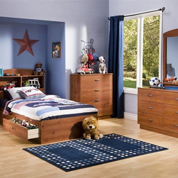 South Shore - 6 Pc Kids' Bedroom Set With Sunny Pine Finish - The easiest way to decorate your child's room is to buy the six-piece collection! This pine finish bedroom set has all the necessary pieces to see them into adolescence: dresser with mirror, twin bed with two drawers underneath, a nightstand and chest of drawers. * Manufactured from eco-friendly, EPP-compliant laminated particle boardcarrying the Forest Stewardship Council (FSC) certification. Included in set:. Twin Size Bed. Bookcase Headboard. Nightstand. 4 Drawer Chest. 6 Drawer Dresser. Mirror. Sunny Pine finish. Assembly required. For individual piece information see related items below