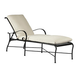 Frontgate - Verano Outdoor Chaise Lounge with Cushion, Patio Furniture - Crafted from hand-forged wrought iron. Electro-galvanized iron treatment provides weather resistance. Finished with our specially formulated, high UV-resistant powder coating Ebony finish. Spring chair features highest quality spring steel, providing supreme spring movement. Tables require some assembly. Verano, the Spanish word for summer, inspires the Verano Collection by Summer Classics&reg Perfect for any season, this collection features hand-forged scroll arms and a delicate lattice design on seats and backs. The intricate pattern in the seat and back is formed by stamped steel that is electro-galvanized and then powder coated in a UV-resistant finish. . . . . . Pillows feature exclusive Sunbrella&reg fabrics, the finest solution-dyed, all-weather material available. Note: Due to the custom-made nature of the cushions, any fabric changes or cancellations must be made within 24 hours of ordering.