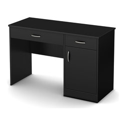 South Shore - Kids Desk in Black - Accessories not included. Metal handles in a pewter finish. Two storage spaces behind the door divided by one adjustable shelf. Each shelf support up to 30 lbs.. Cut out hole in the back panel allows for easy wire management. Small drawer for pens, pencils, a calculator and all those handy little items. Large drawer for laptop computer and books. Metal drawer slides for smooth gliding. Laminated particle board. Warranty: Five years. Made in Canada. Assembly required. 47.25 in. W x 18.75 in. D x 30.25 in. H (72 lbs.). Assembly InstructionsThis Axess work desk is the perfect answer to organize your childs room at a good price. The work surface is great for laying out homework or setting down a laptop.