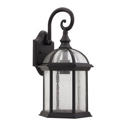 Chloe Lighting - Havana 1 Light Rubbed Bronze Outdoor Wall Sco - Aluminum, glass & electrical components.. Hardwired. Outdoor setting. Overall: 9.63 in. L x 9.88 in. W x 19.25 in. H (5.28 lbs.)Prepare for instant glamor. This fixture creates voluminous accent lighting and awe inspiring ambiance. Marry this design with your modern streamlined outdoor furniture for added luxury or ignite an outdoor veranda instantly with allure.