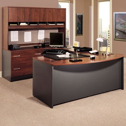 Bush Furniture - Bush Series C U-Shaped Desk with 4 Door Hutch and Lateral File - BHI450 - Shop for Desks from Hayneedle.com! With space for everything you could possibly need in a productive office the Bush Series C U-Shaped Desk With 4-Door Hutch and Lateral File is available in a variety of finishes to suit your office decor. The bow-front desk is not only attractive with a unique shape but it is also sturdy and functional. Desktop and modesty panel grommets allow easy wire access and management and you can customize your workspace with a keyboard shelf or pencil drawer.The desk is built to last with a sturdy 1-inch-thick desktop and a durable desktop surface that resists scratches and stains. Additionally this quality unit has PVC edging to protect it from bumps and collisions. The corner unit mounts as a left return to expand your desk space. The hutch provides ample storage space with four cabinets so you can keep your office organized and tidy. European-style self-closing adjustable hinges help keep cabinet door movements smooth and the doors closed. Thoughtful touches make this hutch an attractive addition to your workspace: its back panel is fully finished and a convenient fabric-covered tack board is ideal for notes and messages. The lateral file cabinet is perfect for storing your letter legal and A4 files. The drawers open on full-extension ball-bearing slides for smooth movement and the single gang lock has an interchangeable core that affords privacy and versatility. Interlocking drawers reduce the likelihood of tipping while levelers provide stability on uneven floors.Each piece in this beautiful package is finished in your choice of beautiful wood tones and includes a 10-year manufacturer's warranty. Choose from mahogany mocha cherry auburn maple light oak natural cherry or Hansen cherry finish. This product meets Business and Institutional Furniture Manufacturer's Association (BIFMA) standards for safety and performance. Assembly required.About Bush FurnitureBush Furniture is the eighth-largest furniture company in the United States. Bush manufactures high-quality products which are designed to be easily assembled and provide great value for the price. Bush furniture is made from a combination of particleboard fiberboard and solid wood components. The use of real wood components will be noted in the product description if applicable.Bush Industries has more than 4 million square feet of manufacturing warehousing and distribution space. This allows for a very wide selection of high-quality furniture with the ability to ship quickly. All Bush Furniture is also backed by a 10-year warranty from Bush one of the best in the industry.Hutch overall dimensions: 70.984W x 15.354D x 42.992H inchesBow desk dimensions: 70.984W x 36.063D x 29.842H inchesOverall lateral file cabinet dimensions: 35.669W x 23.346D x 29.842H inchesUpper drawer compartment: 31.81W x 15.2D x 10.83H inchesLower drawer compartment: 31.81W x 15.2D x 11.26H inchesCorner module dimensions: 70.984W x 35.472D x 29.842H inchesPlease note this product does not ship to Pennsylvania.