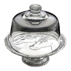 "Horse 8"" Footed Plate with Glass Dome"